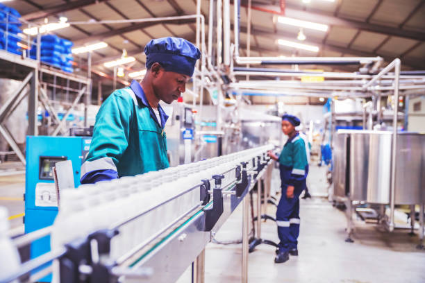 Quality Inspectors Checking Milk Bottles on the Conveyor Belt at a Dairy Plant in Africa stock photo
