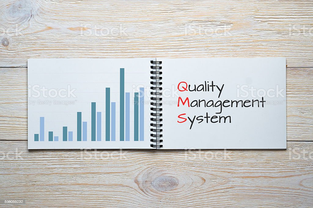 quality management system bar chart stock photo