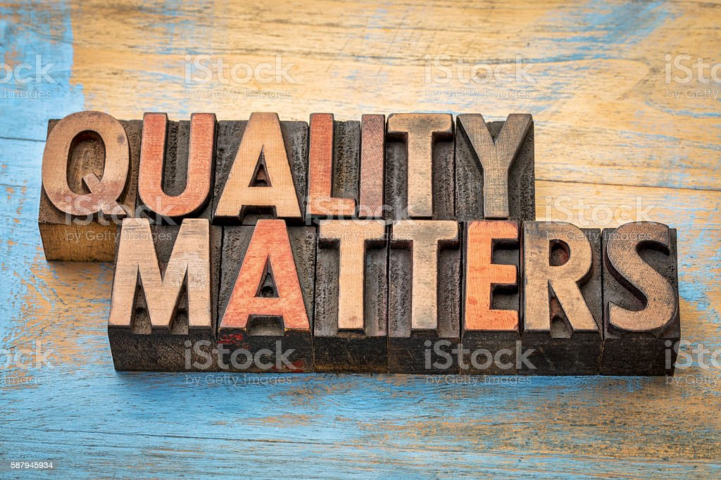 quality matters word abstract - foto de stock
