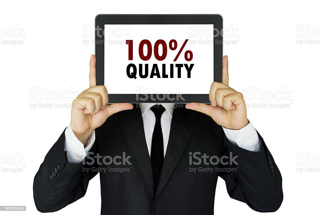 100% Quality on digital tablet message stock photo