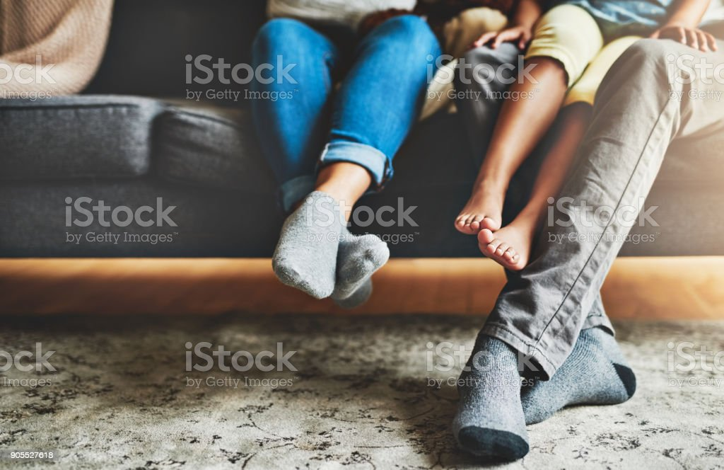 Quality time from the comfort of the couch stock photo