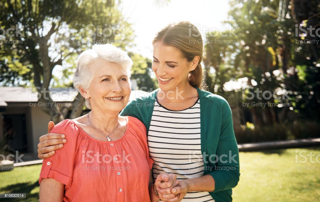 Quality time is the greatest gift she gave her Mom stock photo