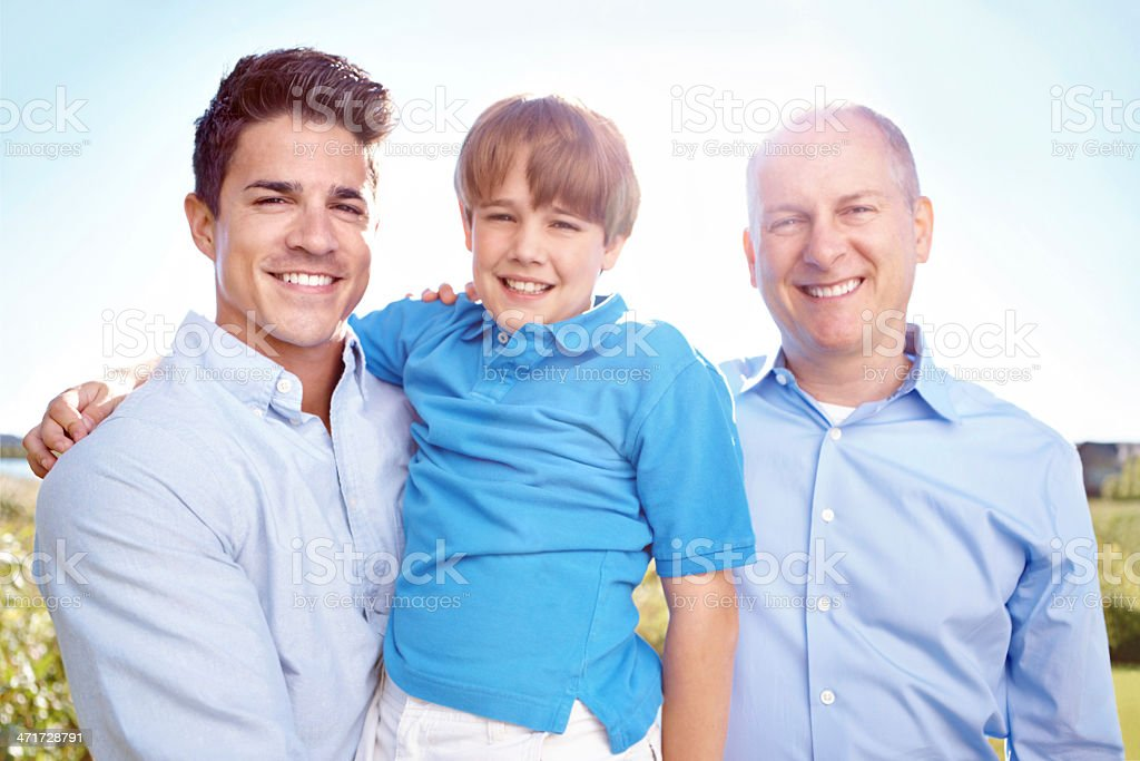 Quality time with dad and grandpa royalty-free stock photo