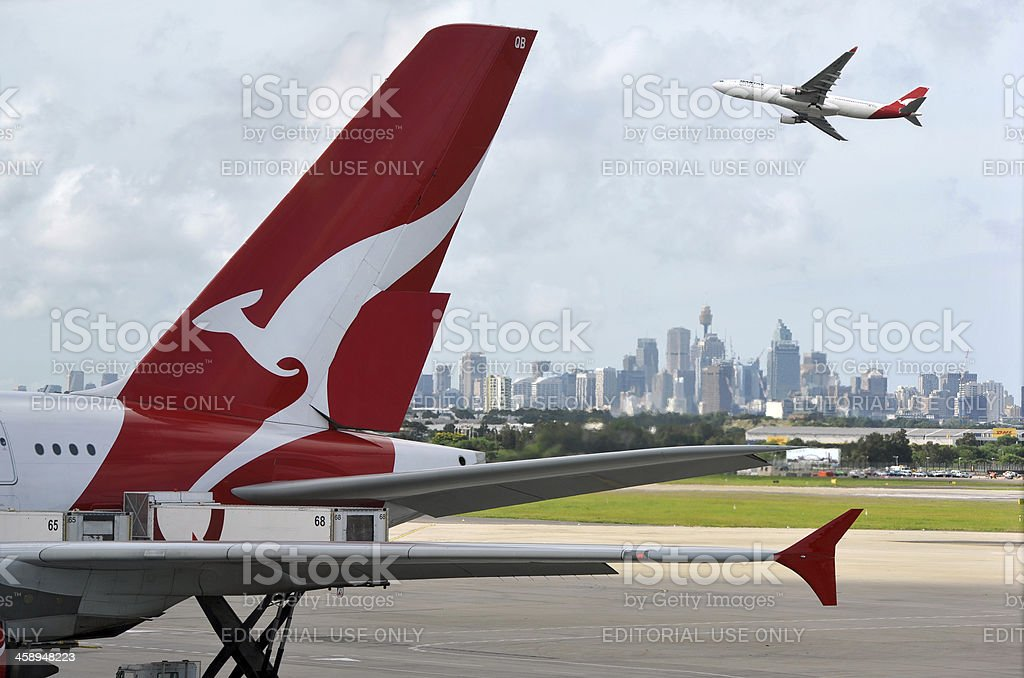 Quantas and Sydney Airport stock photo