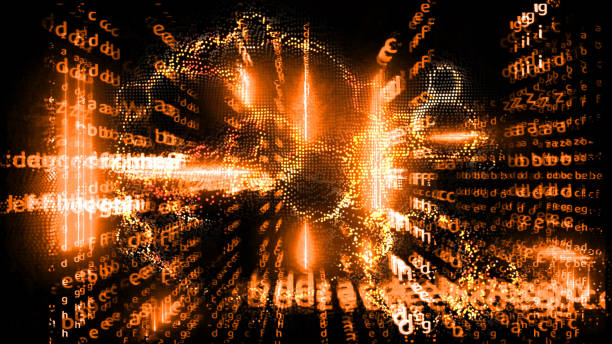 Quantum computer futuristic abstract relation full power block chain and matrix alphabet stock photo