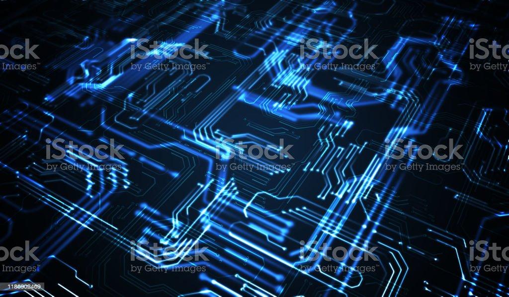 Quantum Computing concept. Abstract gloeiende elektronische circuit. - Royalty-free Abstract Stockfoto