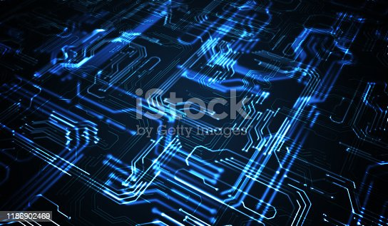 Quantum computing concept. Abstract glowing electronic circuit. 3D rendered illustration.