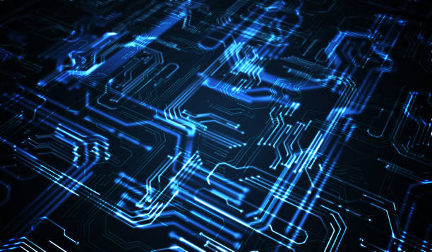 Quantum computing concept. Abstract glowing electronic circuit. Quantum computing concept. Abstract glowing electronic circuit. 3D rendered illustration. computer chip stock pictures, royalty-free photos & images