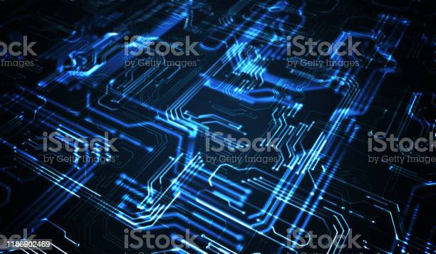 Quantum Computing Concept Abstract Gloeiende Elektronische Circuit Stockfoto en meer beelden van Abstract