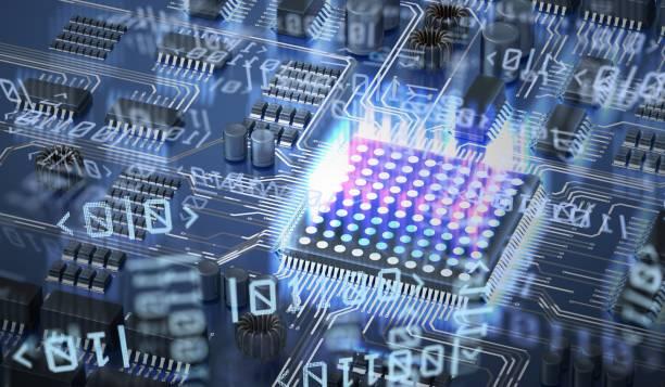 quanten-computing-konzept. schaltung und qubits im hintergrund. 3d abbildung gerendert. - quant stock-fotos und bilder