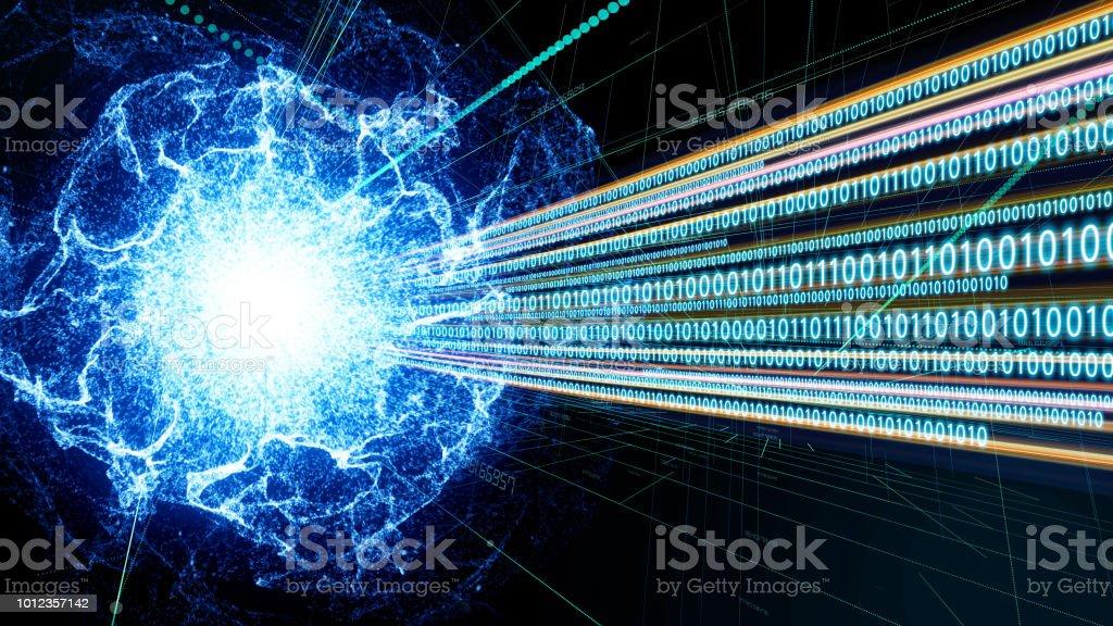 Quanten-computing-Konzept. Digitalen Kommunikations-Netzwerk. Technische Zusammenfassung. – Foto