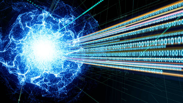 Quantum computing concept. Digital communication network. Technological abstract. stock photo