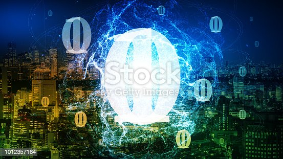 istock Quantum computing concept. Digital communication network. Technological abstract. 1012357164