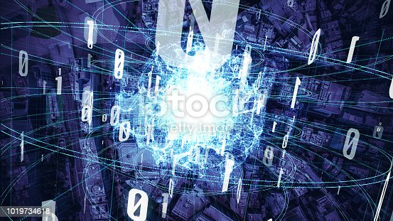 istock Quantum computing concept. Digital communication network. Technological abstract. 1019734618