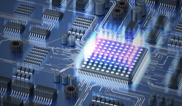 quanten-computing-konzept. prozessor des quantencomputers. 3d abbildung gerendert. - quant stock-fotos und bilder