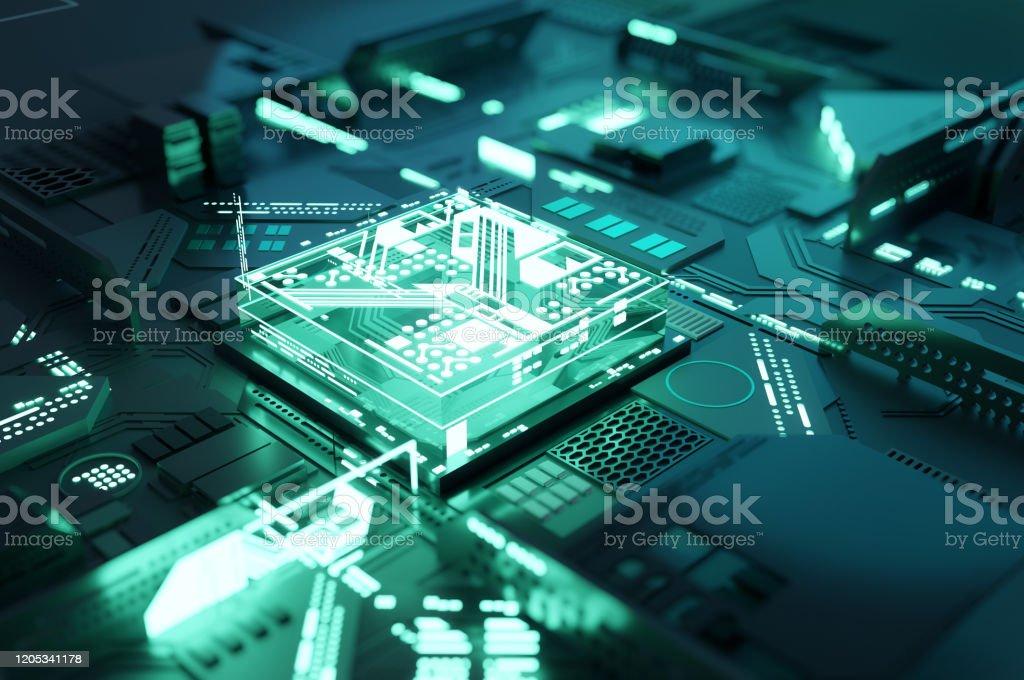Quantum Computing Processor CPU Concept Futuristic green quantum computing CPU processor concept. 3D illustration Authority Stock Photo