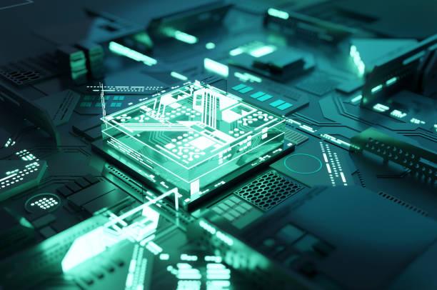 Quantum Computing Prozessor CPU-Konzept – Foto