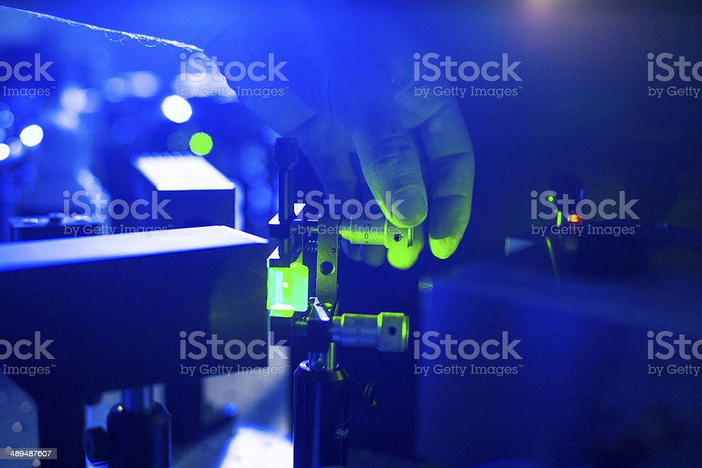 Quantum optics - research in a lab stock photo