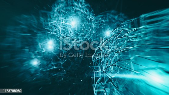 Quantum- 3d rendered image futuristic design. Abstract background. Atomic structure, large collider, CERN concept.