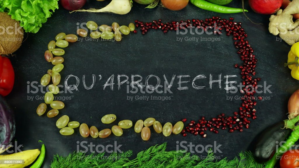 Quaproveche Asturian fruit stop motion, in English Bon appetit stock photo