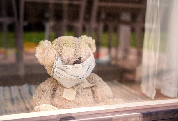 quarantine and self isolation during coronavirus pandemic concept. social distancing. stay home. soft teddy bear toy wearing medical mask sit at home looking at window - teddy bear imagens e fotografias de stock