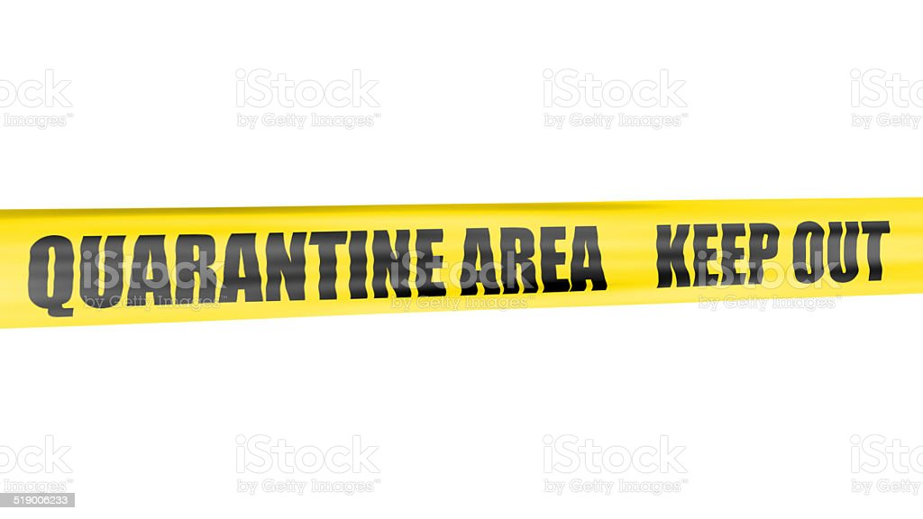 Quarantine area yellow tape stock photo