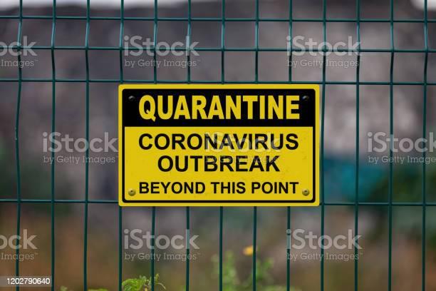 Quarantine Coronavirus Beyond This Point Stock Photo - Download Image Now