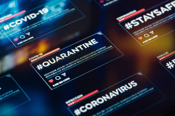 #quarantine hashtag for social networks close-up on digital display #quarantine hashtag for social networks close-up on digital display. A hashtag encouraging people to stay home and not risk health due to COVID-19 coronavirus disease. covid icon stock pictures, royalty-free photos & images