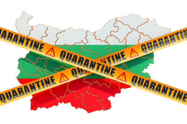 quarantine in bulgaria concept. bulgarian map with caution barrier tapes, 3d rendering isolated on white background - covid testing zdjęcia i obrazy z banku zdjęć