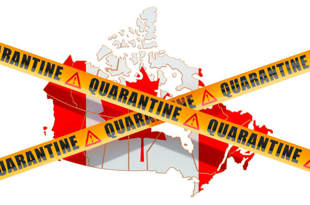 quarantine in canada concept. canadian map with caution barrier tapes, 3d rendering isolated on white background - covid testing zdjęcia i obrazy z banku zdjęć