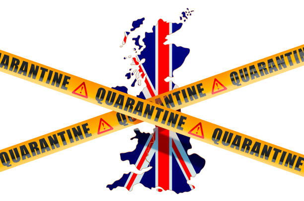 quarantine in great britain concept. the united kingdom map with caution barrier tapes, 3d rendering isolated on white background - covid testing zdjęcia i obrazy z banku zdjęć