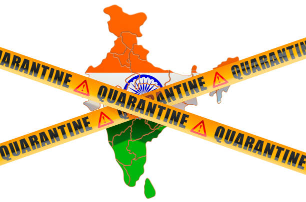 quarantine in india concept. indian map with caution barrier tapes, 3d rendering isolated on white background - covid testing zdjęcia i obrazy z banku zdjęć