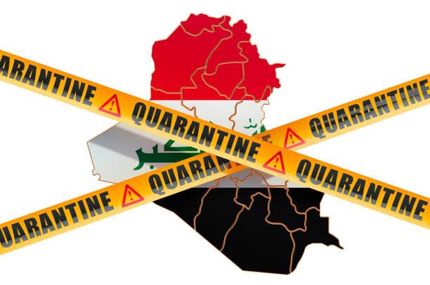 quarantine in iraq concept. iraqi map with caution barrier tapes, 3d rendering isolated on white background - covid testing zdjęcia i obrazy z banku zdjęć