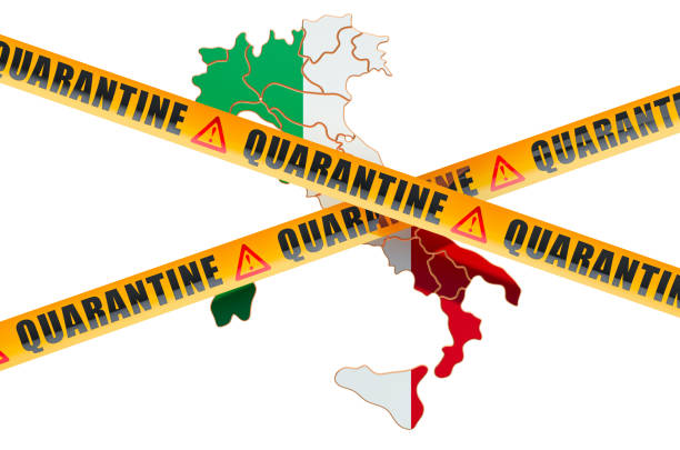 quarantine in italy concept. italian map with caution barrier tapes, 3d rendering isolated on white background - covid testing zdjęcia i obrazy z banku zdjęć