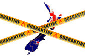 Quarantine in New Zealand concept. New Zealand map with caution barrier tapes, 3D rendering isolated on white background