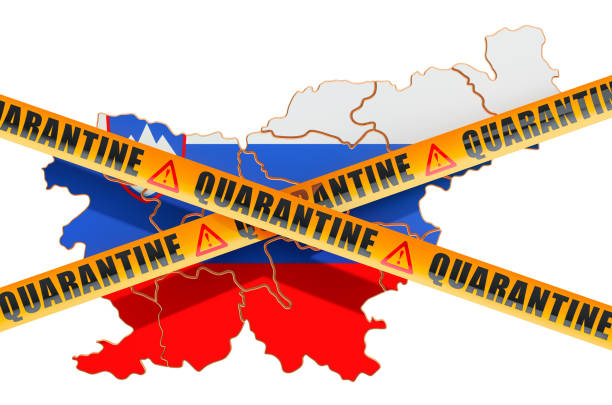 quarantine in slovenia concept. slovenian map with caution barrier tapes, 3d rendering isolated on white background - covid testing zdjęcia i obrazy z banku zdjęć