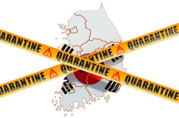 quarantine in south korea concept. south korean map with caution barrier tapes, 3d rendering isolated on white background - covid testing zdjęcia i obrazy z banku zdjęć