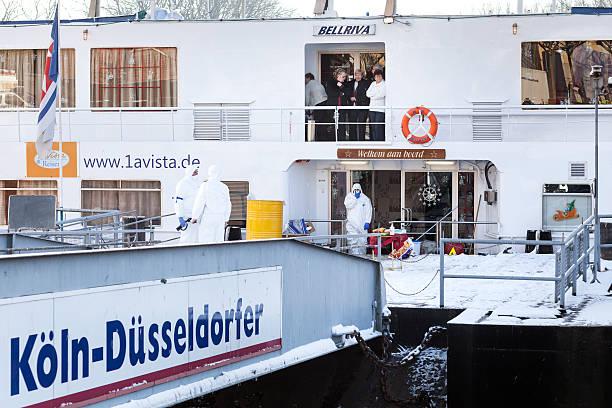 Quarantine on Dutch cruiseship BELLRIVA stock photo