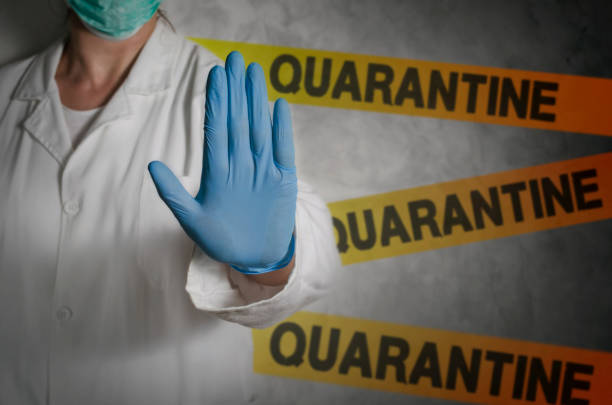 Quarantine Health worker gesturing stop sign in quarantine. quarantine stock pictures, royalty-free photos & images