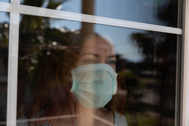 Quarantine time, detention after infection. stock photo