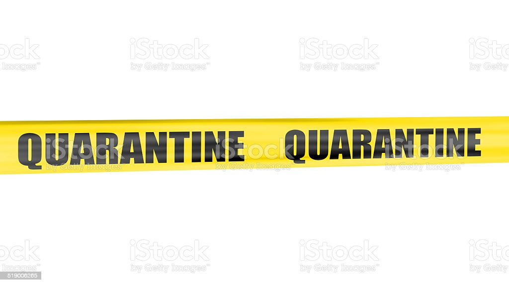 Quarantine yellow tape stock photo