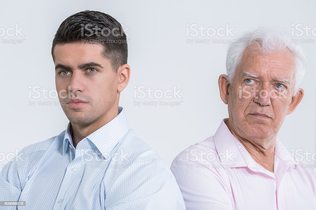 Quarell of two strong personalities stock photo