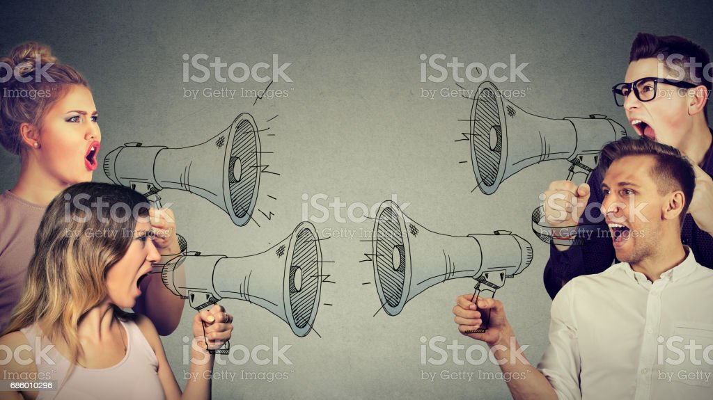Quarrel between women and men stock photo