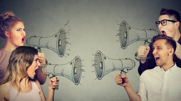 quarrel between women and men - debate стоковые фото и изображения