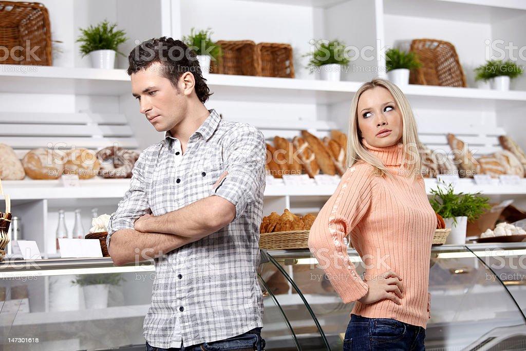 Quarrel in shop royalty-free stock photo
