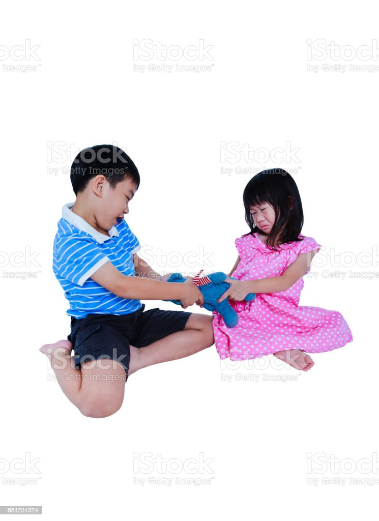Quarreling conflict of sibling. Concept brawl in family. stock photo