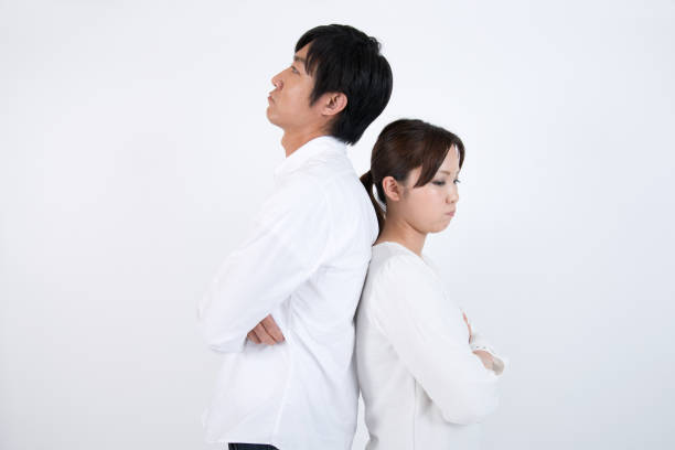 quarreling couple - battle of the sexes concept stock pictures, royalty-free photos & images