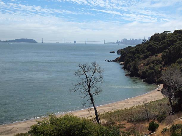 quarry beach on angel island in san francisco bay - engelportal stock-fotos und bilder