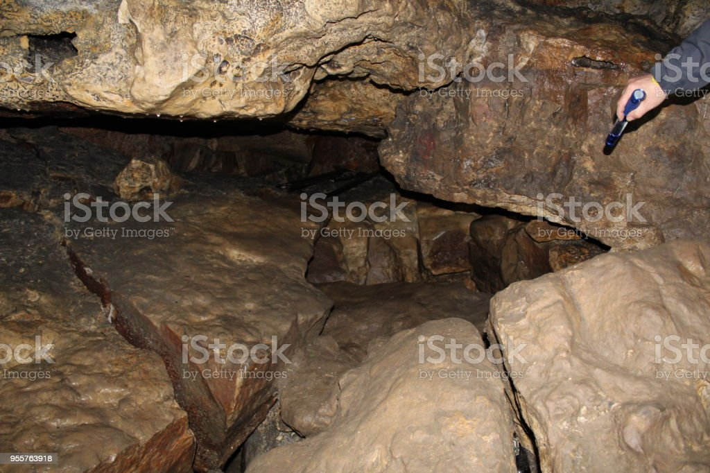 Quarry created artificially for the extraction of stone and created by nature. stock photo