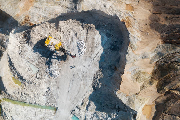 Quarry for the extraction of chalk. Extraction of minerals by the open method. Aerial view stock photo